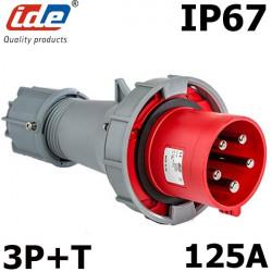 Fiche mâle 3P+T triphasé 125A étanche IP67
