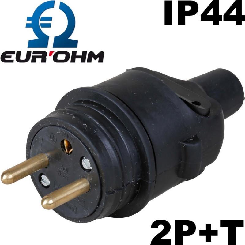 Prise male noire en caoutchouc 2P+T 16A étanche IP44 Eurohm Eur'Ohm