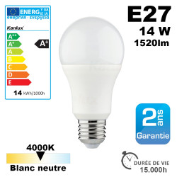 Ampoule LED E27 équivalent 100W 1520lm Blanc Neutre 15,000h