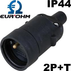 Fiche femelle noire en caoutchouc 2P+T 16A étanche IP44 Eurohm