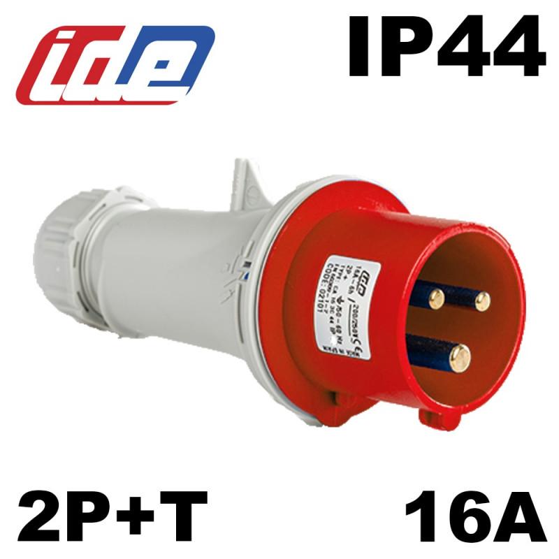 Fiche mâle 2P+T 16A IP44 Code horaire 9 IDE