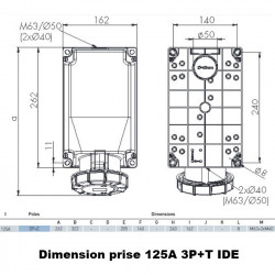 Socle de prise triphasé 3P+T 125A en saillie étanche IP67 IDE