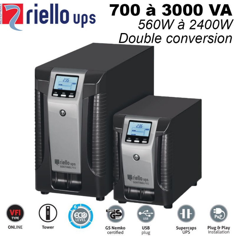 Onduleur online double conversion 700/3000VA - GS Nemko certifié - sentinel pro