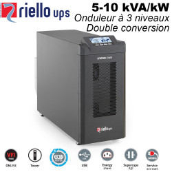 Onduleur online à trois niveaux double conversion, 5-10kVA/kW - 95% de rendement