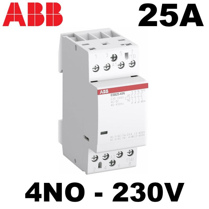 Contacteur modulaire 25A 4NO AC ou CC ABB