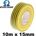 Scotch isolant pour fil de terre vert et jaune 10m x 15mm