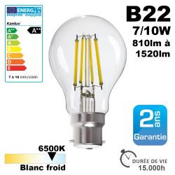 Ampoule LED B22 7W à 10W 6500K 15000H