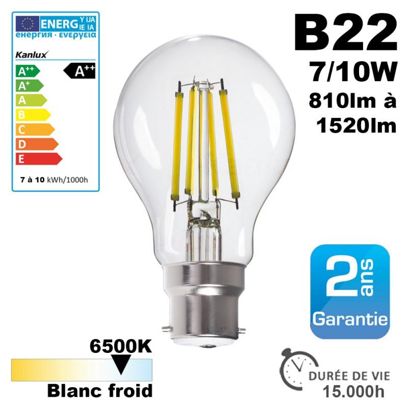 Ampoule LED B22 7W à 10W 6500K 15000H Kanlux