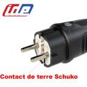 Fiche male schuko caoutchouc étanche IP44 2P+T 16A (contact terre format européen) IDE