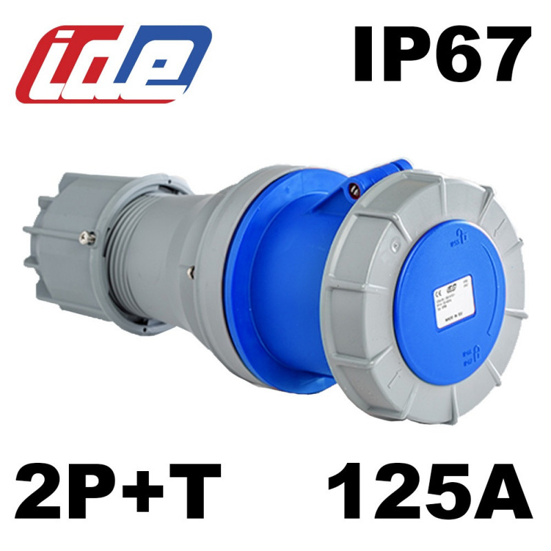Prise femelle 2P+T monophasé 125A IP67 IDE