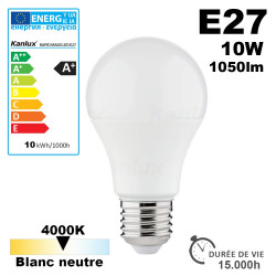 Ampoule LED E27 10W 1050lm 4000K 15,000h