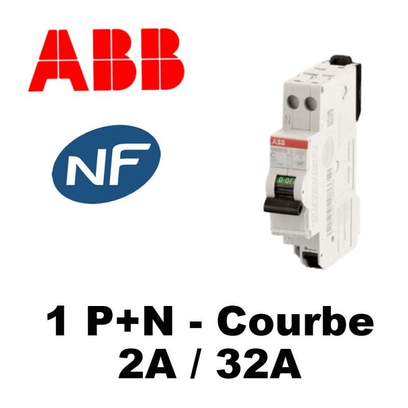 Disjoncteur raccordement rapide Ph/N 4.5kA 2A à 32A Courbe C ABB