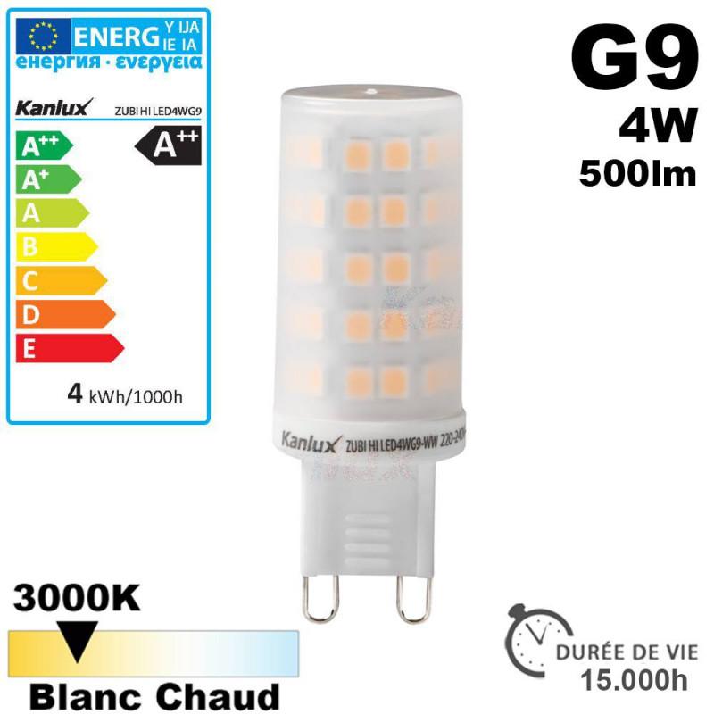 Ampoule LED G9 puissance 4W 3000k 500lm Kanlux