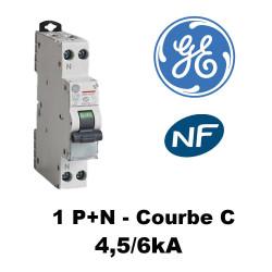 Disjoncteur phase+neutre 4,5kA Courbe C - 2A à 6A General Electric