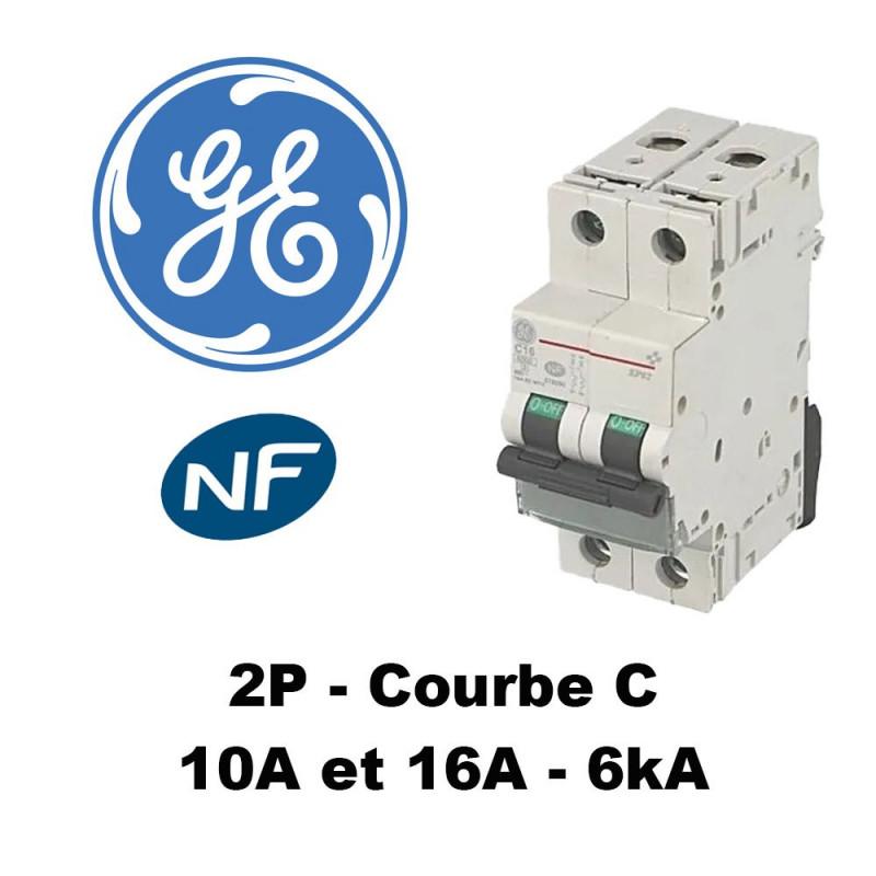 Disjoncteur bipolaire 6kA courbe C GE General Electric
