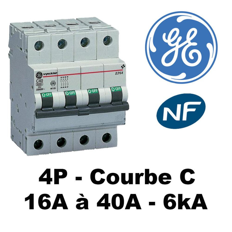Disjoncteur tétrapolaire courbe C 6kA GE General Electric