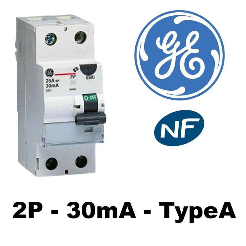 Interrupteur différentiel type A 30mA GE General Electric
