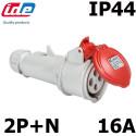 Prise femelle 2P+T 16A IP44 IDE