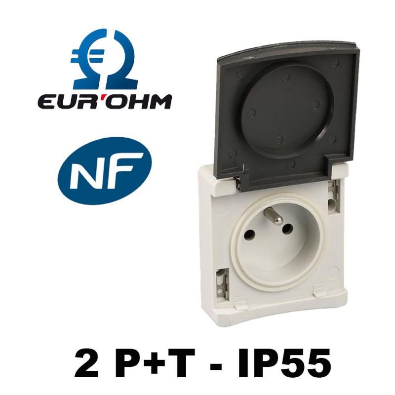 Mécanisme 2P+T IP55 Gris - Eurohm Ouessant Eur'Ohm