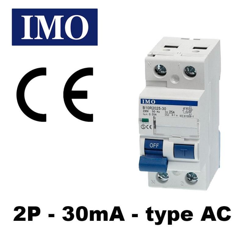 Interrupteur différentiel phase neutre 30mA type AC - IMO