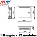 Dimensions du coffret encastrable SILVER IDE 12 Modules