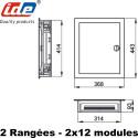 Dimensions du coffret encastrable SILVER IDE 2 rangées de 12 Modules