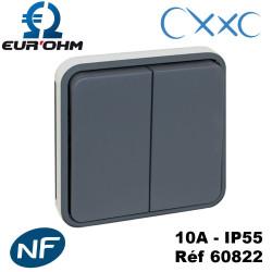 Double va et vient composable gris OXXO IP55