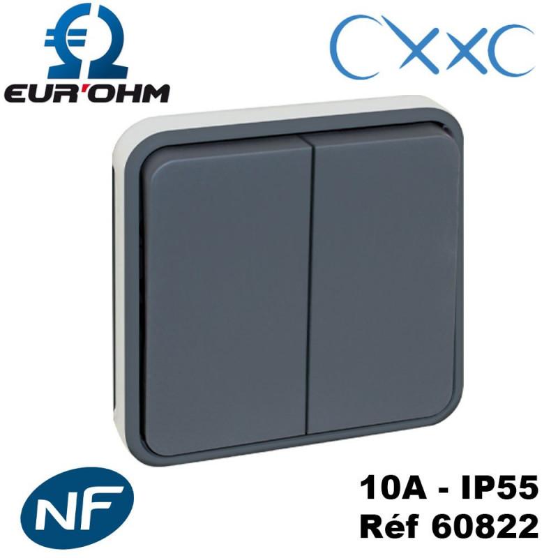 Double va et vient composable gris OXXO IP55 Eur'Ohm