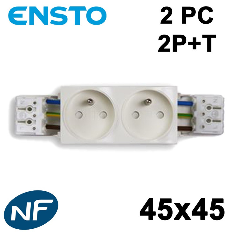 Bloc recouvrant 1 à 4 PC 2P+T blanche Klé 45x45 avec double bornier rapide ENSTO