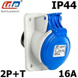 Prise CEE à encastrer 2P+T 16A étanche IP44 ou IP67