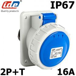 Prise CEE à encastrer 2P+T 16A étanche IP44 ou IP67 IDE