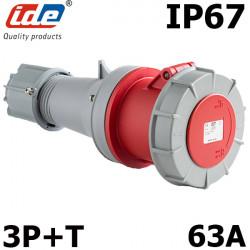 Fiche femelle triphasé 3P+T 63A étanche IP67