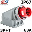 Socle de prise male triphasé 3P+T 63A IP67 IDE