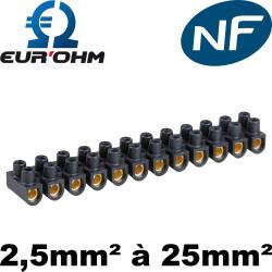 Domino électrique noir en laiton de 2,5mm² à 25mm² Eurohm