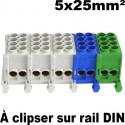 Bornier électrique 5x25mm² à clipser sur rail DIN IDE