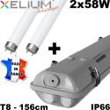 Réglette étanche 2X58W HF + TUBES 840 + étrier inox