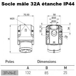 Socle male en saillie prise 32A 3P+T+N 380V IDE