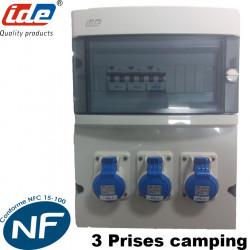 Coffret de camping 3 prises pour raccordement électrique camping car ou caravanne