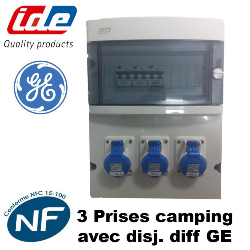 Coffret de camping 3 prises CEE avec disjoncteur diff GE IDE
