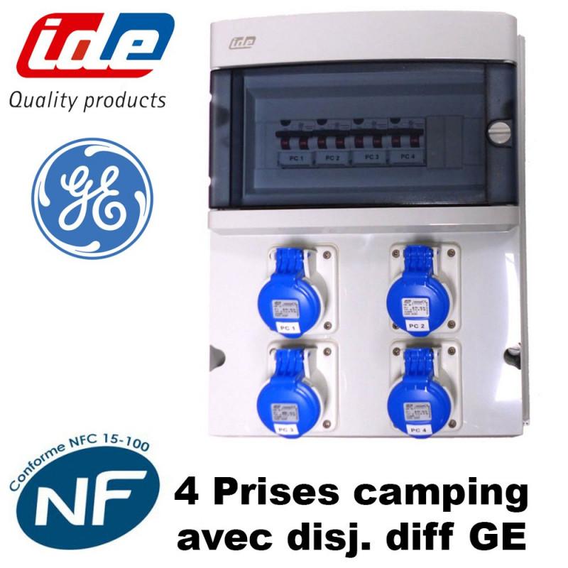 Coffret de camping 4 prises pour caravane avec disj diff GE IDE
