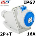 Socle prise murale CEE 2P+T 16A étanche IP44 ou IP67 IDE