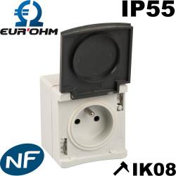 Prise plexo IP55 pour l'extérieur à monter saillie Eur Ohm 60720