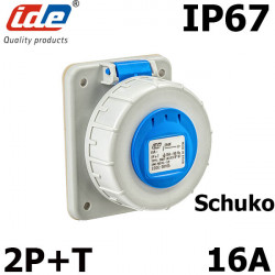 Prise Schuko 2P+T 16A - étanche IP67 à fixer sur coffret IDE
