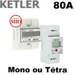 Compteur modulaire 80A certifié MID selon modèle