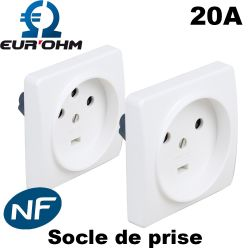Socle de prise de courant 20A à encastrer Eurohm