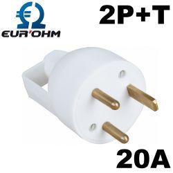 Fiche male 20A 2P+T avec anneau et entrée de cable droite
