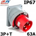 Prise male à encastrer sur coffret 3P+T 63A IP67 IDE