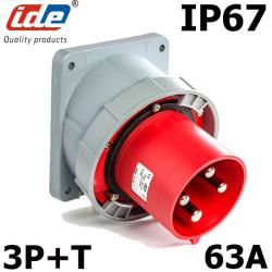 Prise male à encastrer sur coffret 3P+T 63A IP67