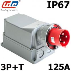 Socle male prise triphasé 125A 3P+T étanche IP67