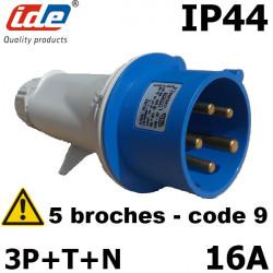 Fiche mâle 3P+N+T 220V 16A IP44 de 120 à 250v IDE